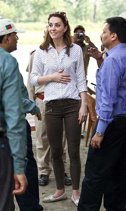 The Duchess of Cambridge's trip to India was the perfect moment to break out her favourite pair of khakis! On a visit to Kaziranga National Park for an open air Jeep safari in 2016, she paired the pants with flats and a polkadot button-up. A pair of sunnies kept her hair back as she chatted with officials.