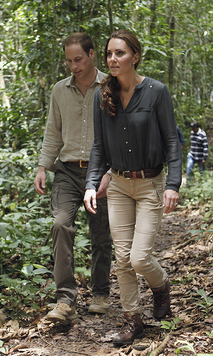 Prince William and Kate were perfectly colour-coordinated during their 2012 trip to Borneo. For a walk through the rainforest at the research center in Danum Valley, the mother of three rocked a loose button-up, khaki pants and a pair of hiking boots.