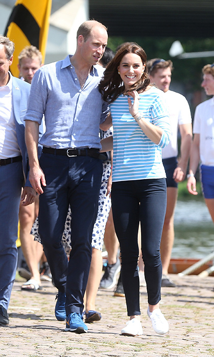The Duke and Duchess of Cambridge participated in a rowing race on day two of their official visit to Germany in 2017 – and Kate had the best casual outfit, complete with a blue-and-white striped top, jeans and fresh white sneakers.