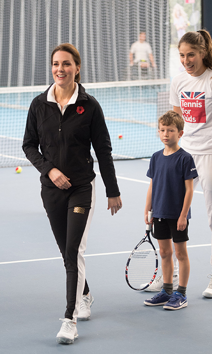 On a visit to the Lawn Tennis Association at National Tennis Centre in 2017, the duchess wore her Nikes and Monlear tuxedo pants for the sporty day.