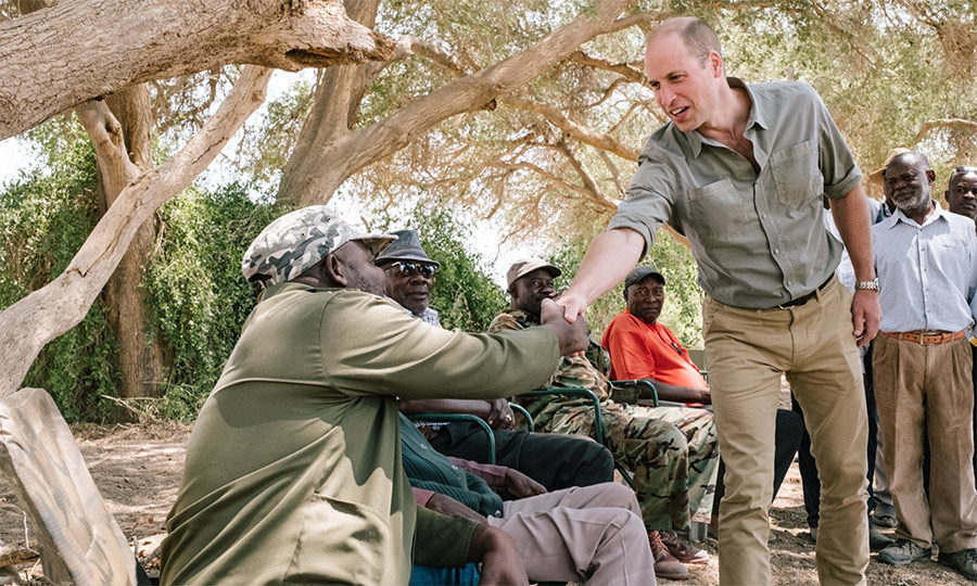 William happily met with locals while visiting Namibia's Kunene region to witness the work of Save the Rhino Trust Namibia.