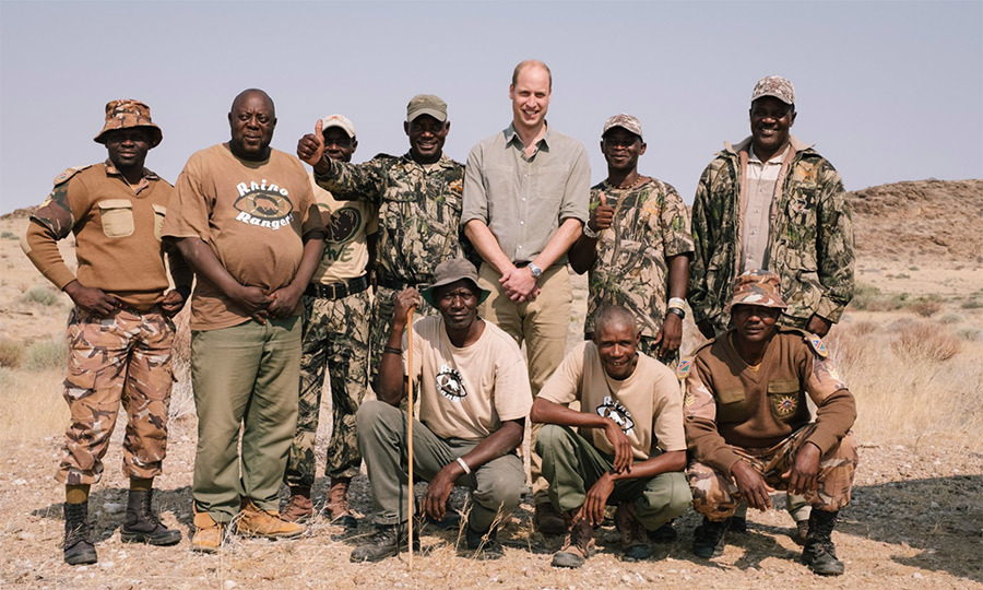 "William met with wildlife protectors during a trek in the Kunene region. ""I was staggered by the beauty and sheer remoteness of this incredible landscape,"" he said. ""And I was humbled by the dedication of the rangers who protect the unique population of desert rhino from poachers.""