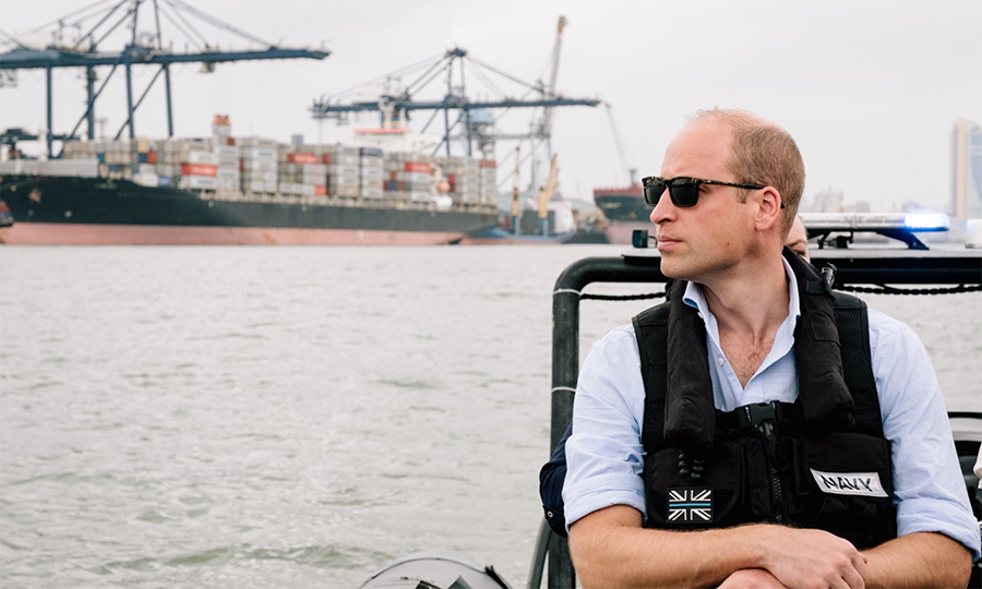 Prince William rocked his classic Ray-Bans as he set out to witness some of the challenges faced by port operations in combatting the illegal wildlife trade.