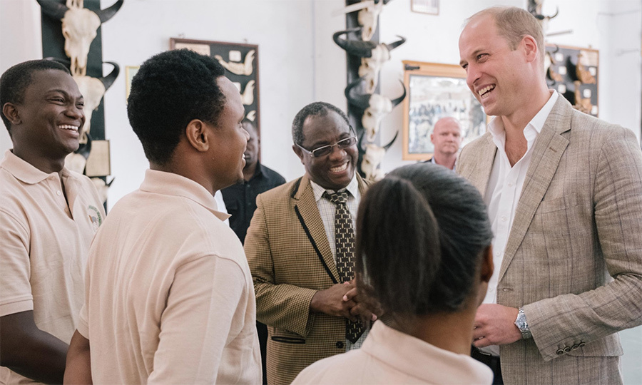 The Duke of Cambridge paid a visit to the College of African Wildlife Management to see the work their students are doing.