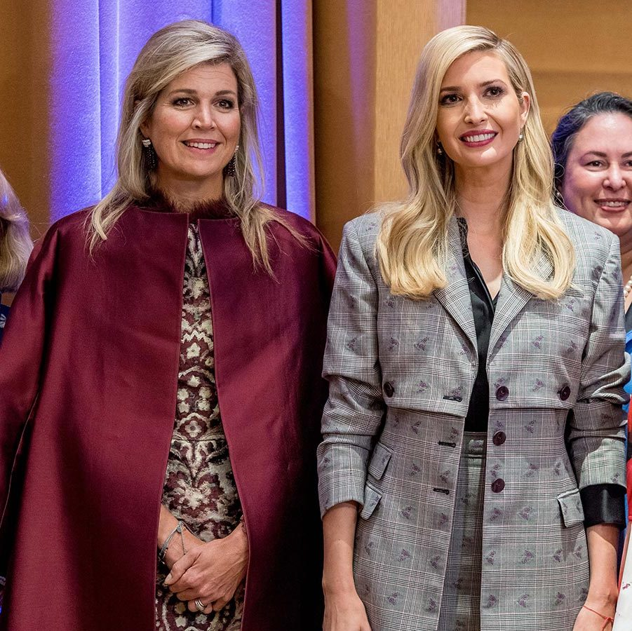 Queen Maxima of the Netherlands looked her usual stylish self in a printed dress and a burgundy coat slung over her shoulders. The Dutch monarch posed alongside first daughter Ivanka Trump, who said that she's learned a lot from Maxima over the years, during a meeting with the Women Entrepreneurs Finance Initiative on Sept. 25.