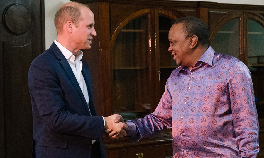 While stopping by Kenya's State of House, the duke received a warm welcome from President Uhuru Kenyatta.