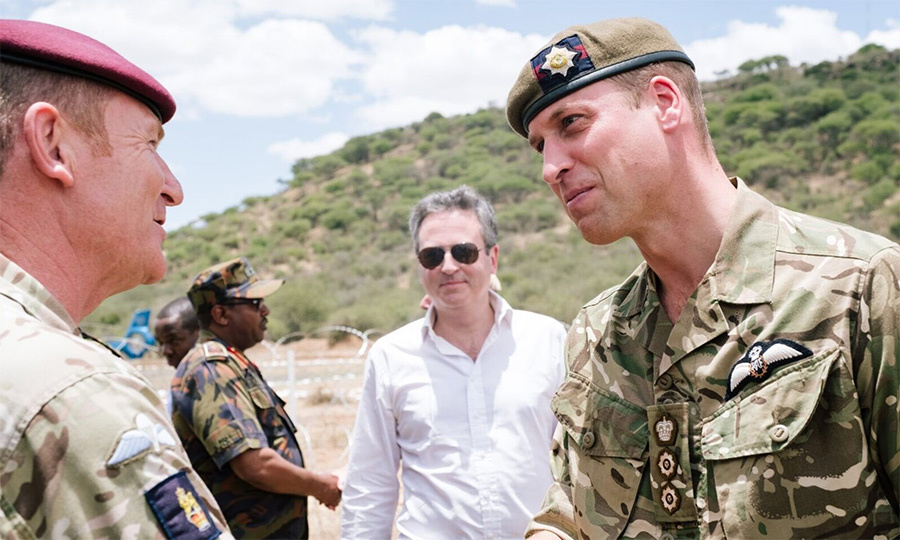 While visiting the Laikipia training centre in a military uniform, William met with local politicians.