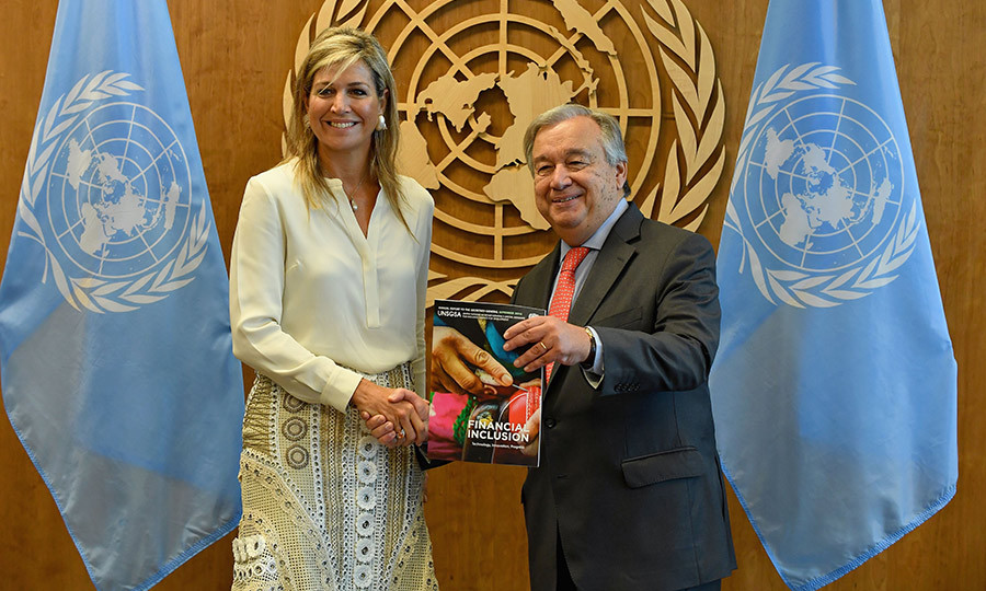 Queen Maxima posed with United Nations Secretary-General Antonio Guterres on Sept. 26 while in New York, wearing a cream blouse with a gorgeous embroidered skirt and conch shell statement earrings. 