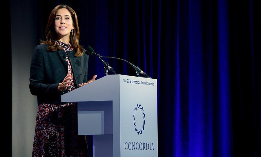 Crown Princess Mary was also in the Big Apple for the UN Summit, where the former ad exec took the stage on Sept. 24 at the 2018 Concordia Annual Summit wearing a patterned frock and black jacket. 