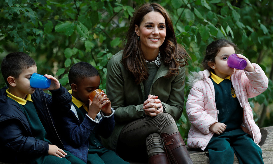Kate debuted her new locks while hanging out with adorable children at a forest school.