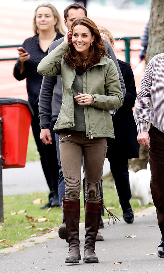 On Oct. 2, Kate returned to her royal duties after maternity leave. She recycled her Zara moto pants and her trusty pair of Penelope Chilvers tassel boots, that she's been spotted wearing since 2004! She completed the look with a Fjallraven jacket and an olive-green sweater with a Joseph Rainer blouse underneath. For accessories, Kate kept it simple with her engagement ring and a dazzling pair of Monica Vinader Green Onyx Siren Wire earrings.