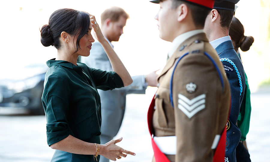 Meghan greeted military officials at the University of Chichester, where they were opening a new tech park.