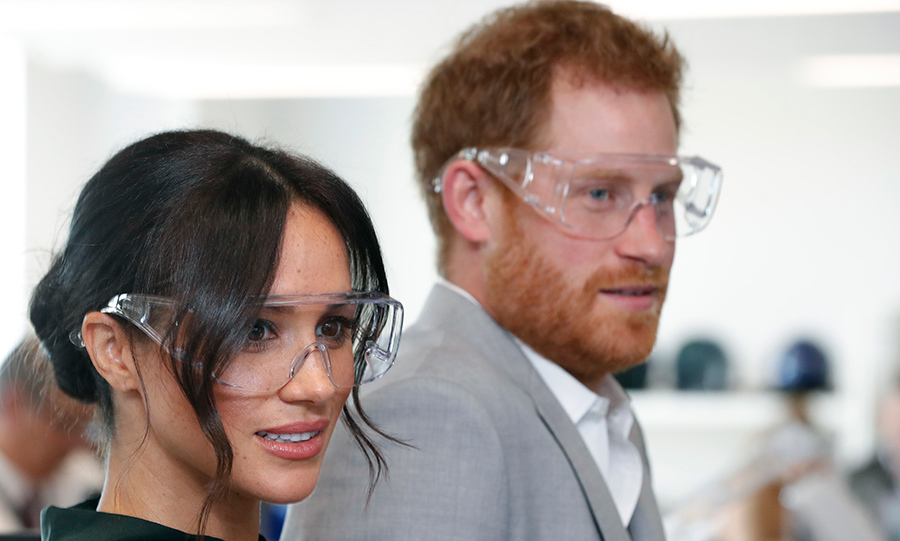 The newlyweds popped on goggles as they checked out the happenings at the University of Chichester's new Engineering and Digital Technology Park in Bognor Regis.