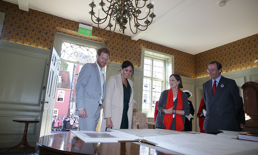 "The first stop on the couple's special tour was Edes House, where American Meghan was blown away by a rare Sussex copy of the American Declaration of Independence. ""My goodness, wow, what are the chances. That's amazing,"" she said. ""I just can't believe it."" Aside from the copy in the National Archives in Washington, the Sussex Declaration is the only other contemporary handwritten manuscript copy.  The Sussexes were also presented with books about the document.