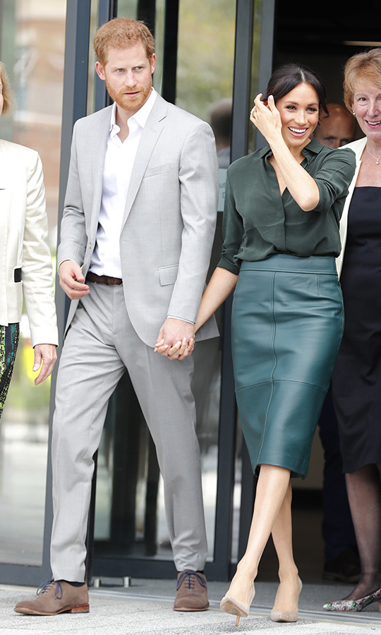 Harry and Meghan were all smiles as they left the University of Chichester holding hands. The royal couple received their titles of Duke and Duchess of Sussex from the Queen on their wedding day, May 19.
