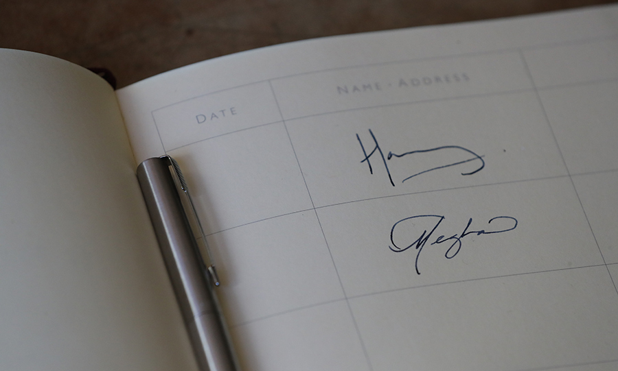 Harry and Meghan signed the visitor's book at  Edes House, each jotting down their first names only. Meghan, a former  calligrapher, has always been admired for her beautiful script.
