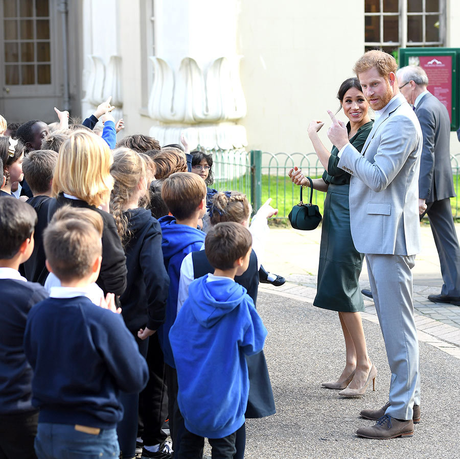 The couple  joked around with the children outside Brighton's Royal Pavilion.