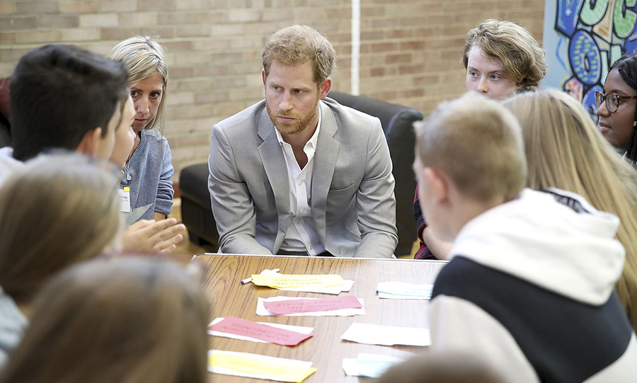 Prince Harry listened intently to what the young people had to say while visiting the Joff Youth Centre.