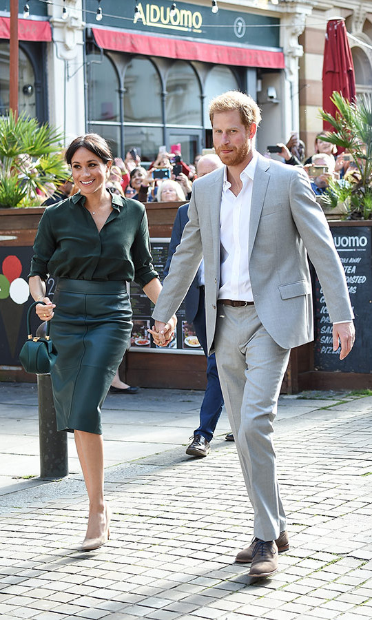 The beloved couple arrived in Brighton hand in hand.