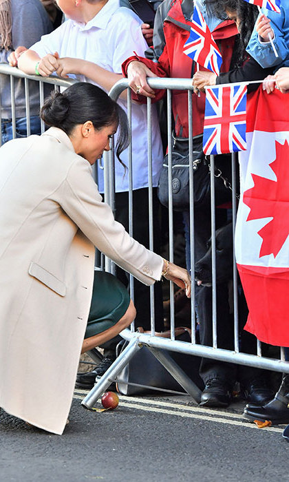 Meghan got in some quality time with a sweet black lab who surely reminded her of Oz! Hanging nearby was a Canadian flag...