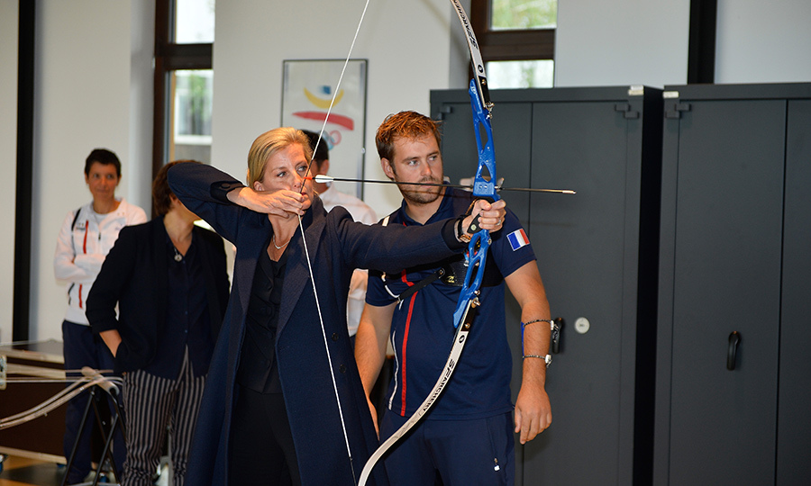 Sophie, Countess of Wessex, tried her hand at some archery while visiting INSEP (National Institute of Sport) in France on Oct. 2.