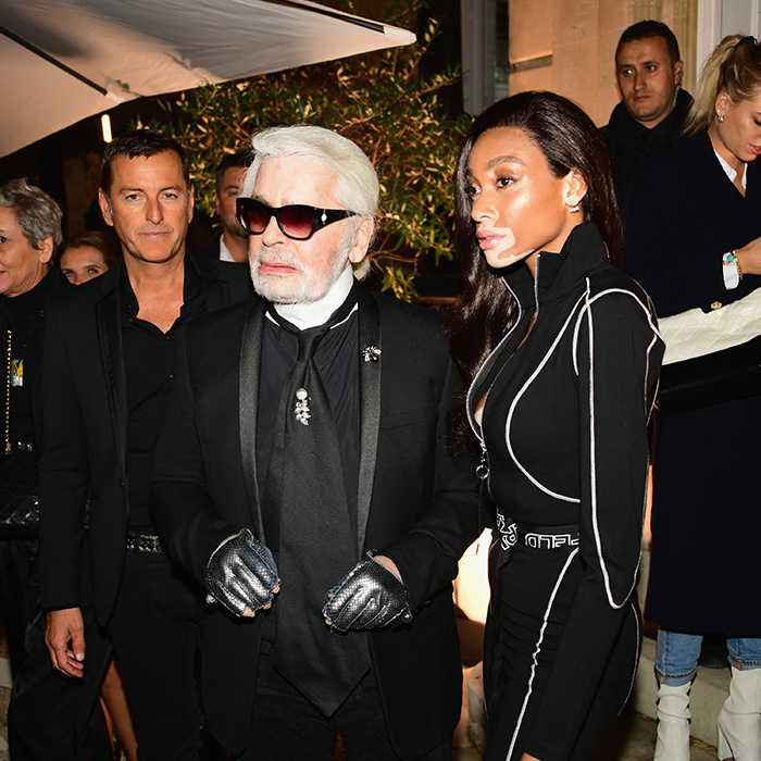Karl Lagerfeld and Winnie Harlow celebrated the launch of the Karl x Kaia capsule collection on Oct. 2 in France.