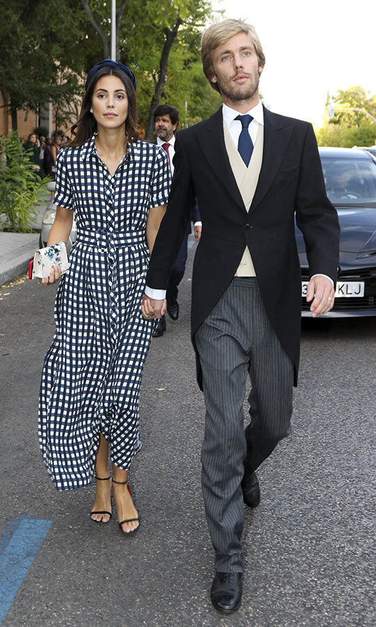 Prince Christian and his wife of almost seven months, Alessandra de Osma, attended the society wedding of friends Fernando Ramos de Lucas and Maria Vega Penichet Fierro in Madrid, looking every inch the dashing couple. The best part? Alessandra's gingham shirtdress is by Zara's sister brand Uterqüe and retails for less than $200! 