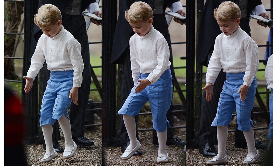 Prince George showed off some fancy footwork as one of the adorable pageboys when mom Kate's close friend Sophie Carter tied the knot in Sept. 2018. 