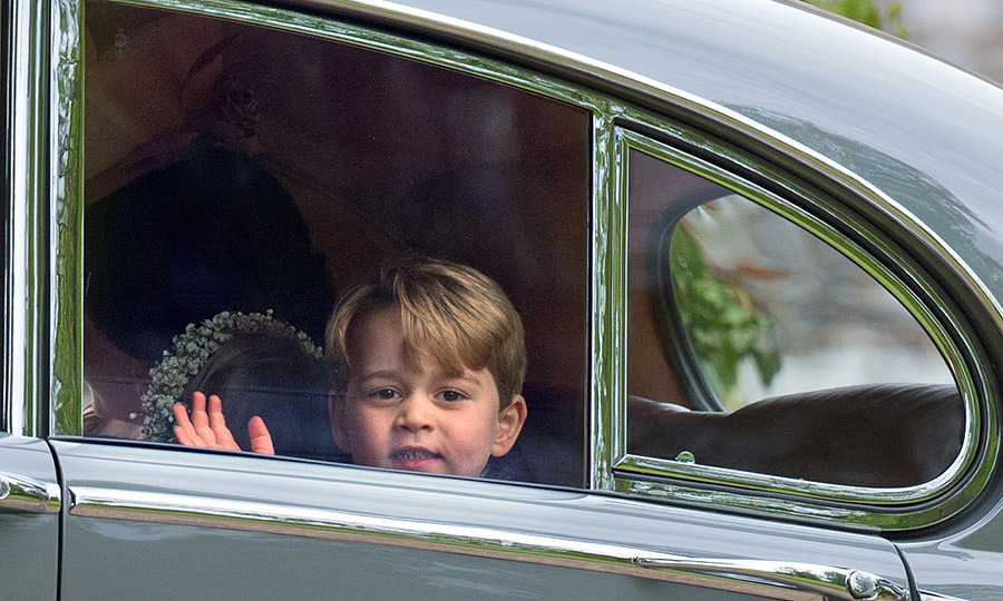Prince George gave the crowds exactly what they wanted outside auntie Pippa's wedding to James Matthews, waving and smiling as the Cambridges arrived for the festivities.