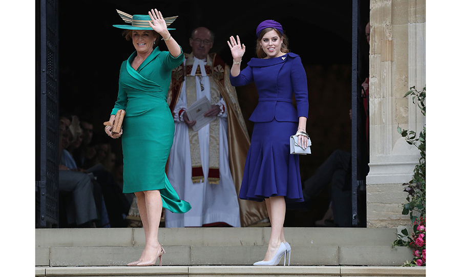 With one final wave, mother-of-the-bride Sarah Ferguson and Princess Beatrice headed into St. George's chapel for the ceremony.