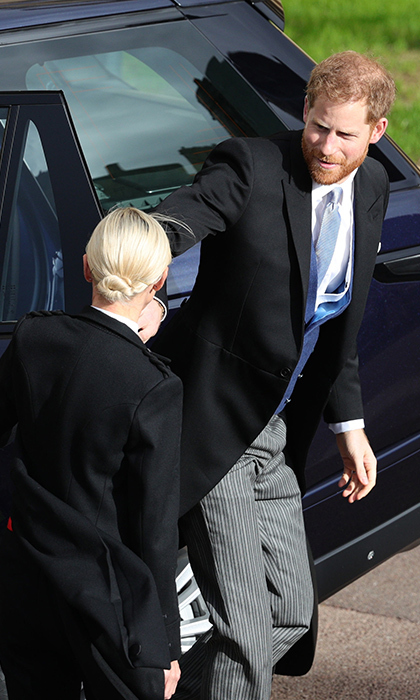 A relaxed Prince Harry looked happy to be a guest and not the main attraction as he arrived at the church by car. 