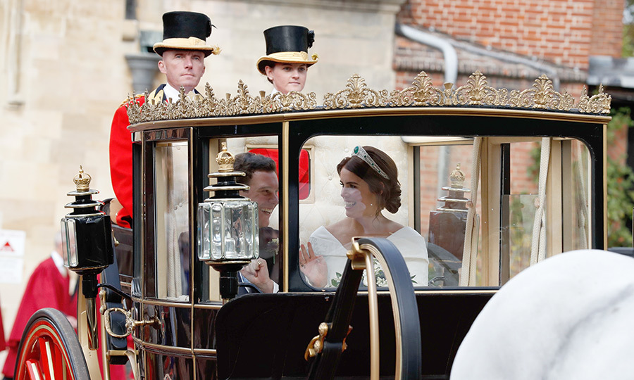The couple's ride started at the Royal Mews and made its way through the streets of Windsor before arriving at Windsor Castle. The route is similar to the one Prince Harry and Meghan travelled on their wedding day, except Eugenie and Jack skipped the ride up the Long Walk. 