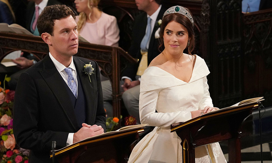 Princess Eugenie stole a glance at her longtime love during the emotional service, which was conducted by the Dean of Windsor, David Conner. 