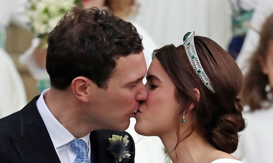Princess Eugenie and Jack, who dated for seven years before getting engaged in January, kicked off a new chapter in their love story with a sweet kiss. 