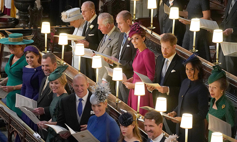 The Royal Family couldn't contain their delight as they watched 28-year-old Eugenie make her way up the aisle. 