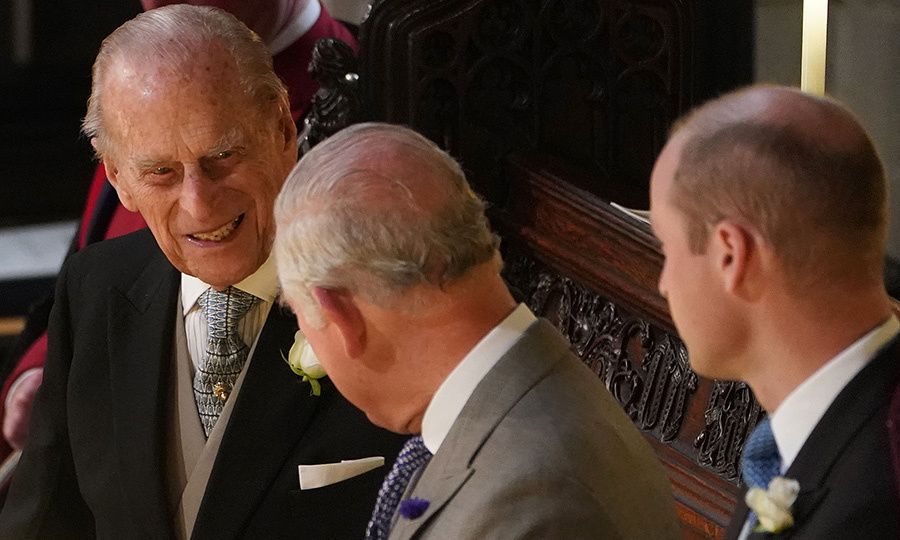 Prince Charles watched the ceremony sandwiched between his father Prince Philip, who looked happy and healthy, and son Prince William. 