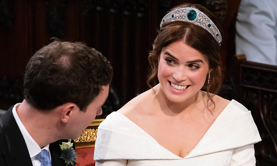 Jack gave Eugenie her gorgeous new earrings as a wedding gift. The baubles feature seven dangling diamonds, perhaps to mark the length of their relationship, with oval emeralds at the bottom. They perfectly matched the royal's diamond and emerald tiara!
