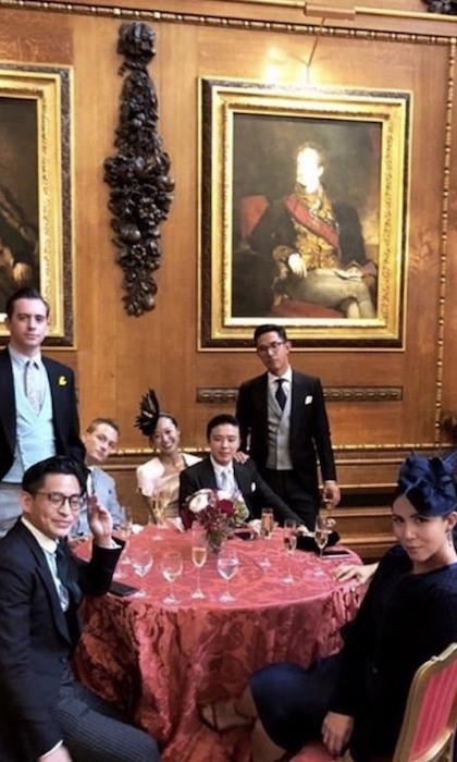 It's all in the details - and Windsor Castle has more than enough to go around! From the portraits to the woodwork and the luxe chairs and tablecloth, this shot of guests having a drink at their table really gave fans a glimpse of the castle's grandeur.