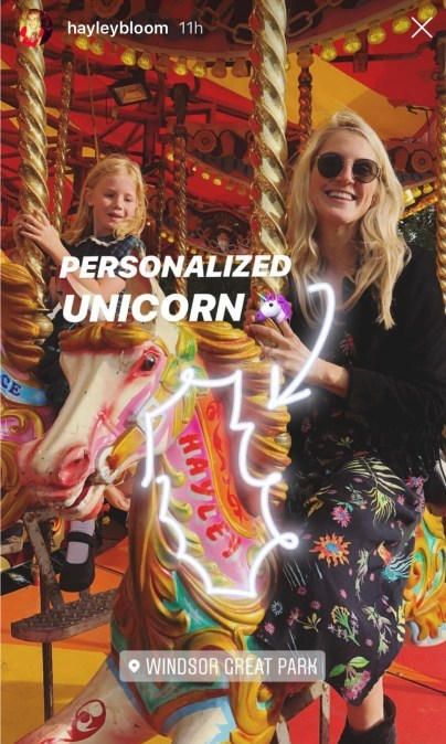Heiress Hayley Bloomingdale took a ride on her namesake unicorn on the carousel at the third wedding blowout! 