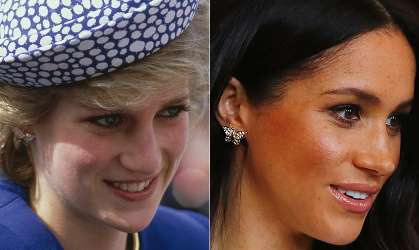 In a stunning tribute to Prince Harry's mom, Princess Diana, Meghan wore a beautiful pair of her gold butterfly earrings. She also dazzled in one of Diana's gold bracelets, too.