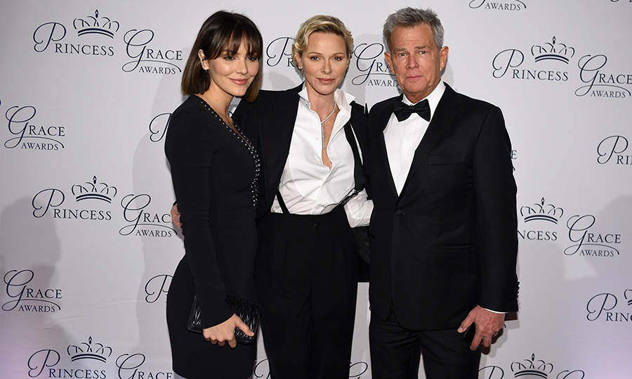 Canadian music icon David Foster and his fiancée, singer Katharine McPhee, posed with the Monegasque royal on the red carpet at the Princess Grace Awards on Oct. 16. Later, he spoke about the foundation's important work with emerging talents in the arts for more than three decades. 