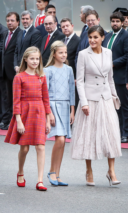 Spain's Queen Letizia attended the National Day military parade in Madrid on Oct. 12 alongside her stylish daughters, Infanta Sofia and Princess Leonor.