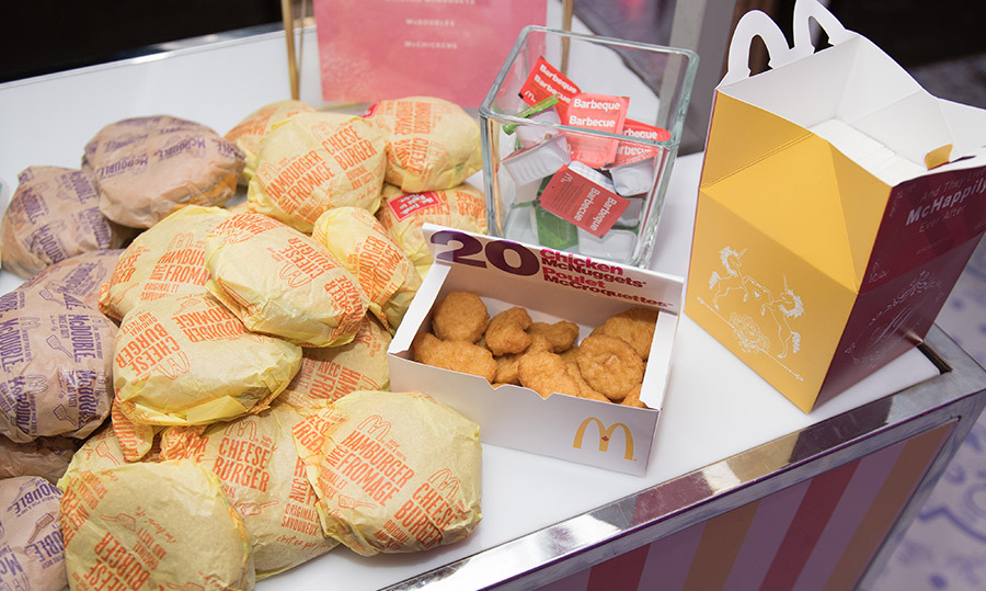 Complementing catering from Toben Food by Design, a late-night food station featured goodies from McDonald's. Takeout containers were personalized for a truly happy meal!