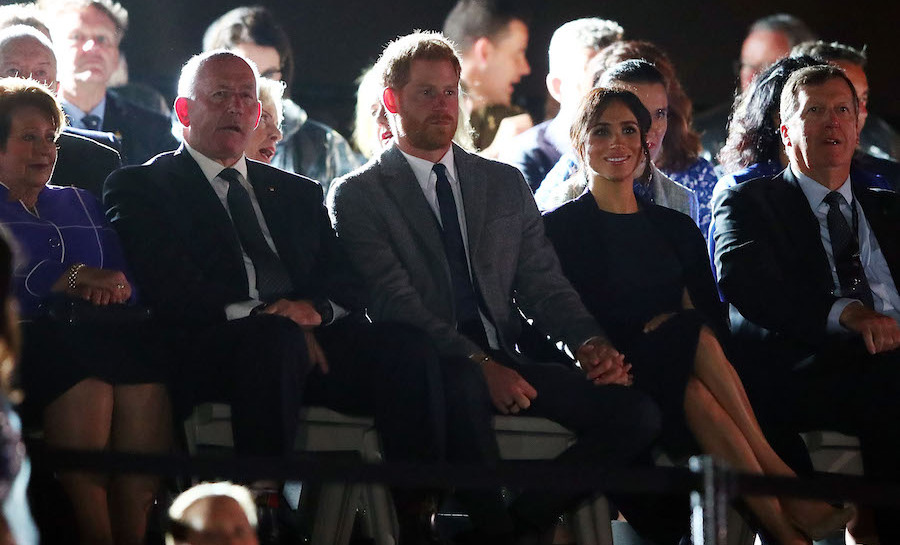 They're the Duke and Duchess of PDA! The two watched the beginnings of the opening ceremony happily, sitting beside Governor General Sir Peter Cosgrove and his wife, Lady Lynne Cosgrove.