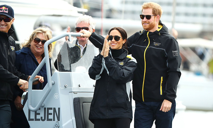 The Sussexes were thrilled to be on the water as home team Australia took home top honours! Illinois couple Carrie and Bill Novack, whose son Ryan suffered a spinal cord injury in 2016, got to ride on the boat with Prince Harry and Meghan.