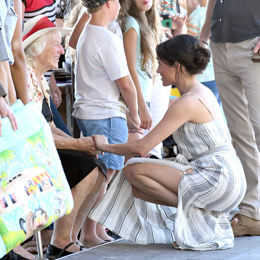 The Duchess of Sussex shared many special moments with fans, bending down to speak face to face. After their time on Fraser Island the couple will head to Fiji on Tuesday to continue their 16-day tour Down Under.
