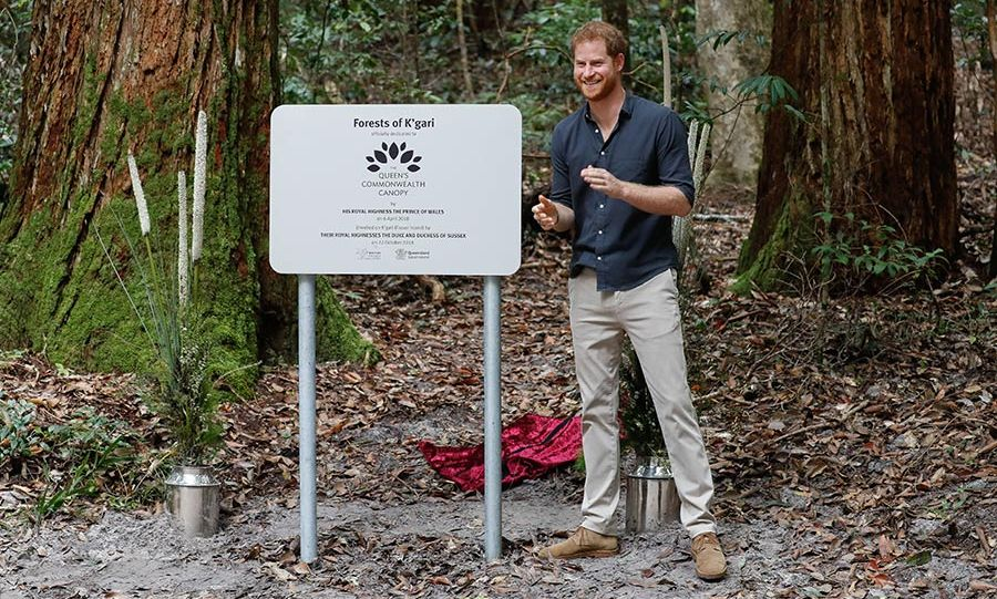 "The 34-year-old revealed a plaque that reads ""Forests of K'gari officially dedicated to the Queen's Commonwealth Canopy by His Royal Highness the Prince of Wales on 6 April 2018 unveiled on K'gari by Their Royal Highnesses the Duke and Duchess of Sussex on 22 October 2018.""