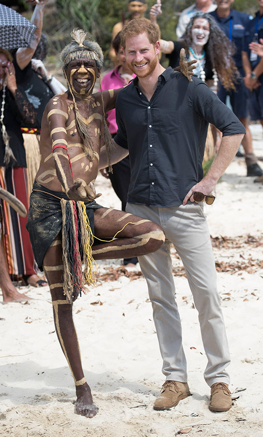 Prince Harry received a traditional welcome to K'gari (their name for Fraser Island) by the Butchulla People in the form of a smoking ceremony