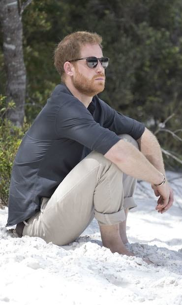 Prince Harry enjoyed a moment of solitude on the shore of Lake McKenzie. He also took part in an aboriginal cleansing ceremony on Fraser Island, as well – clearly, it was a powerful experience.