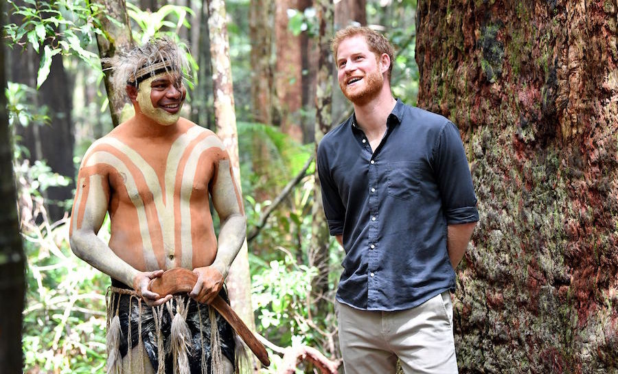 Prince Harry spoke with a member of the Butchulla people, who are the traditional owners of Fraser Island, at Pile Valley on Oct. 22. While Meghan rested, the prince visited with an Aboriginal community on the stunning World Heritage-listed island.